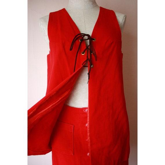 70s Red Denim Miniskirt & Vest Set Hippie Western