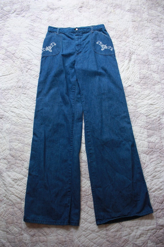 70s Sears Embroidered Bell Bottom Jeans Wide Leg H