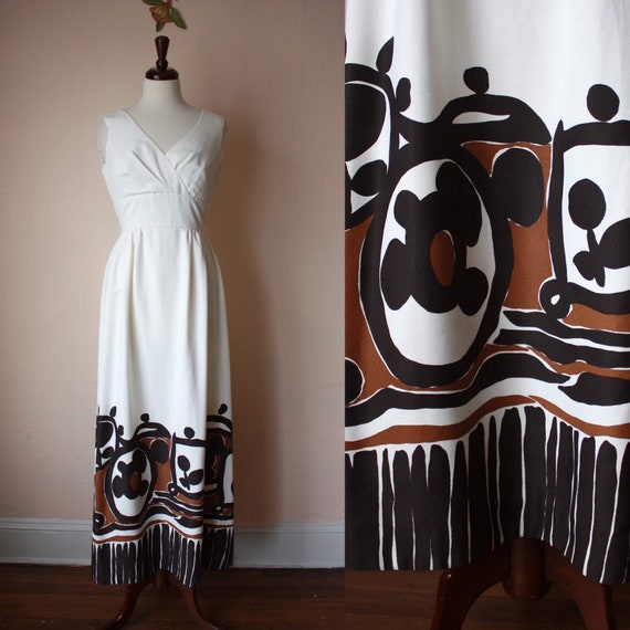 60s 70s Malia Hawaiian Maxi Dress White Brown Tik… - image 1