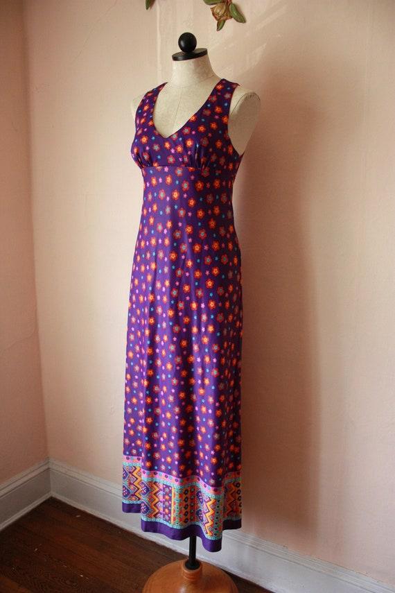 70s Corky Craig Dress Purple Flower Power Empire W