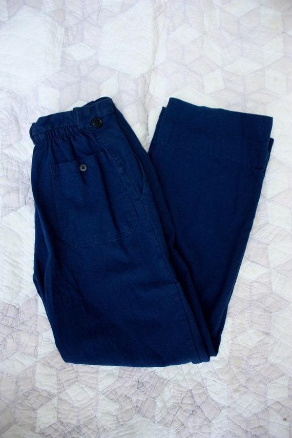 70s 80s Italian Work Pants Navy Blue Chambray Cott