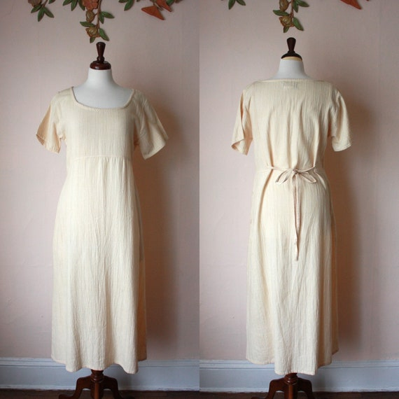 90s Guatemalan Cotton Maxi Dress Textured Tie Back