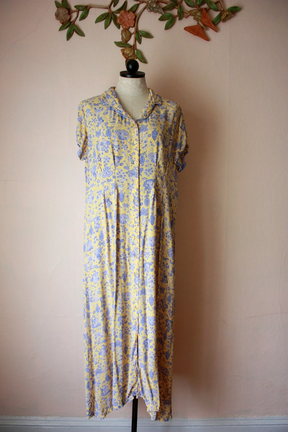 90s does 30s April Cornell Toile Rayon Maxi Dress