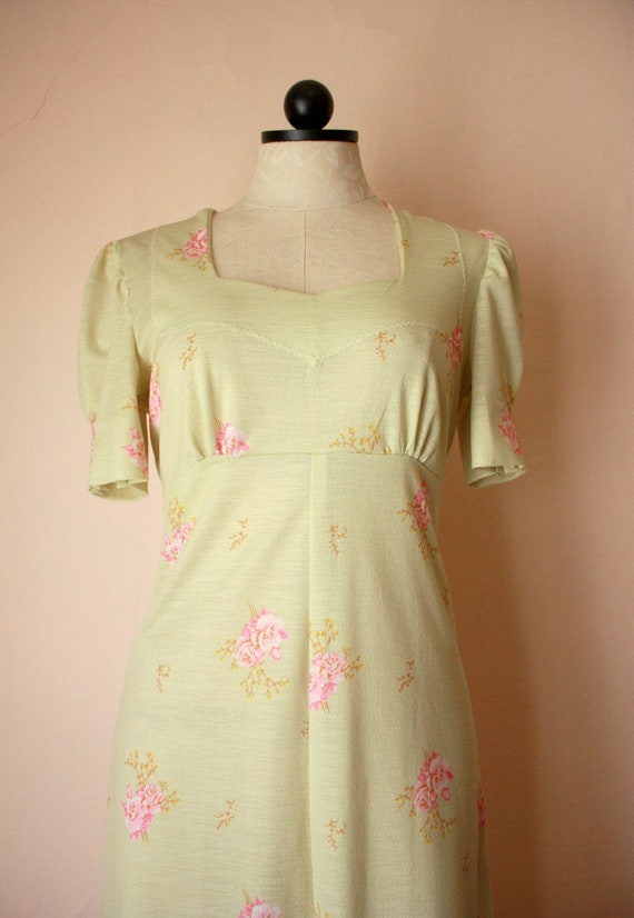 70s does 30s Pastel Green and Pink Floral Maxi Dre