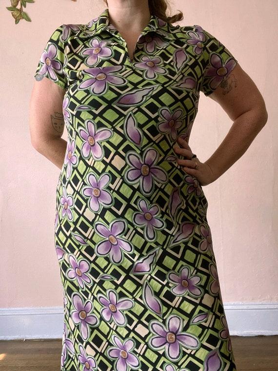 Vintage 70/'s neon flower power maxi dress