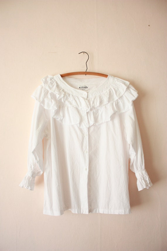 80s Deadstock Michel Ruffled Blouse Victorian Cot… - image 8