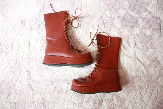 Y2K does 60s 70s Brown Leather Platform Boots Tall