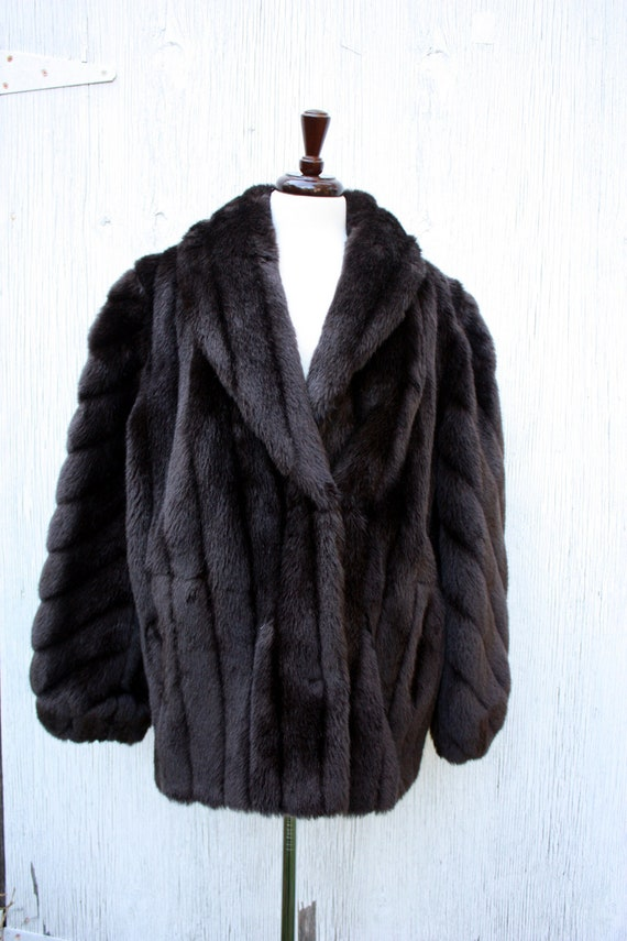 80s Brown Faux Fur Puffer Coat Size XL