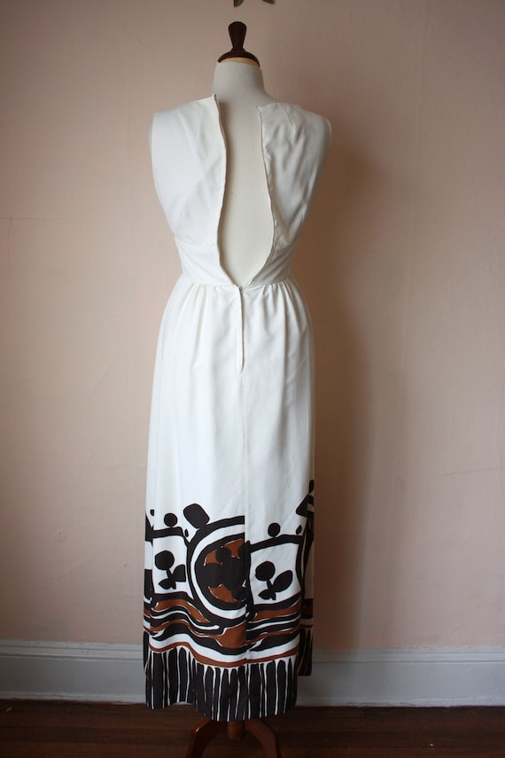60s 70s Malia Hawaiian Maxi Dress White Brown Tik… - image 6