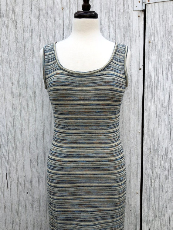 80s 90s Chetta B Grunge Ribbed Tank Dress with Mat
