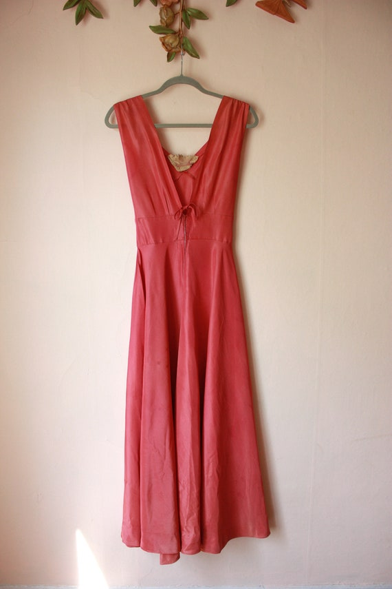 30s Pink Silk Bias Cut Gown with Puffed Shoulder … - image 3