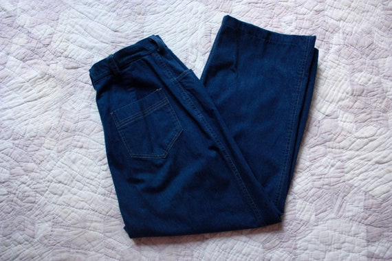 80s High Waisted Wide Leg Jeans Dark Wash