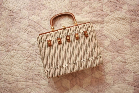 60s White Basket Purse Vinyl Rectangular Handbag W