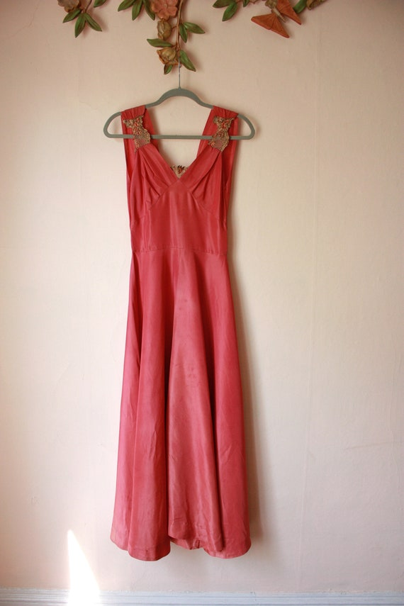 30s Pink Silk Bias Cut Gown with Puffed Shoulder … - image 2