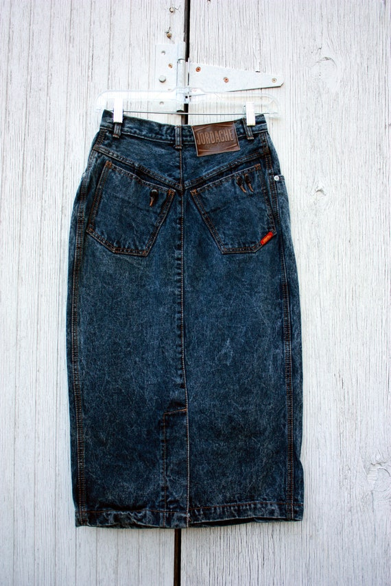 80s Jordache Denim Midi Skirt Acid Wash Size S