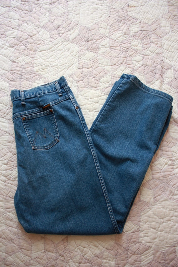 70s Maverick Flared Jeans High Waisted Medium Wash