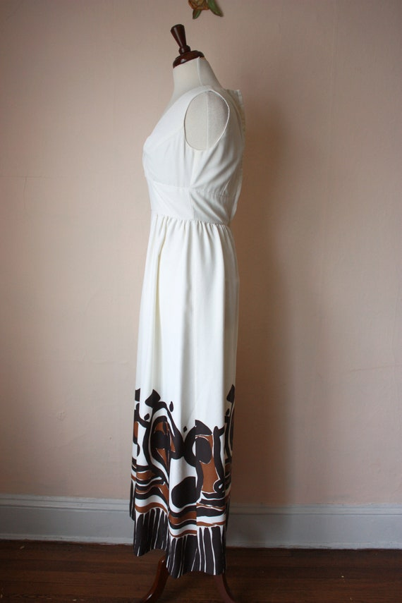 60s 70s Malia Hawaiian Maxi Dress White Brown Tik… - image 5