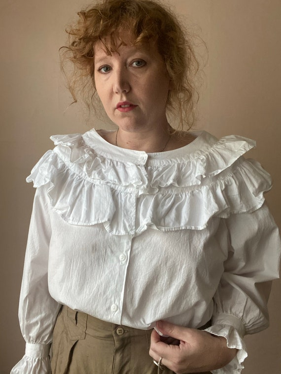 80s Deadstock Michel Ruffled Blouse Victorian Cot… - image 3