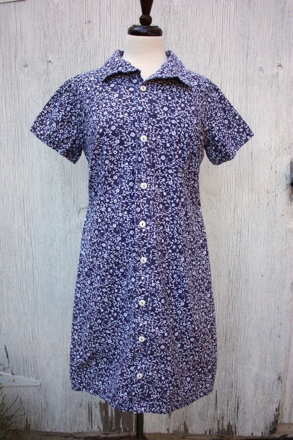 40s Blue and White Floral Cotton Shirt Dress Feed