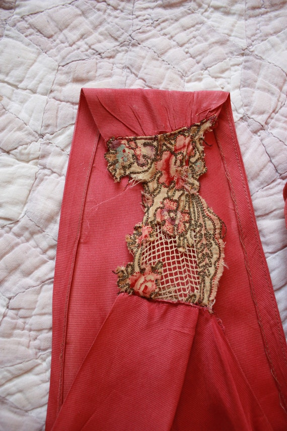 30s Pink Silk Bias Cut Gown with Puffed Shoulder … - image 7
