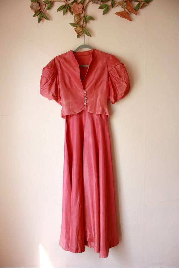 30s Pink Silk Bias Cut Gown with Puffed Shoulder … - image 4