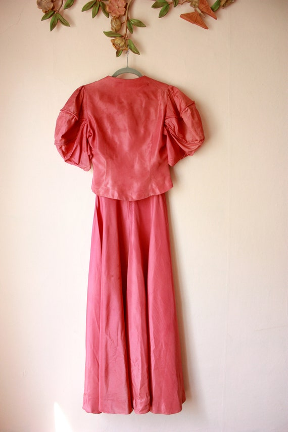 30s Pink Silk Bias Cut Gown with Puffed Shoulder … - image 5