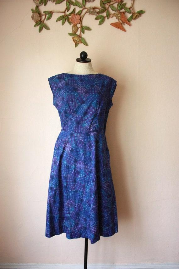 50s Jewel Tone Blue Batik Cotton Dress Cap Sleeve