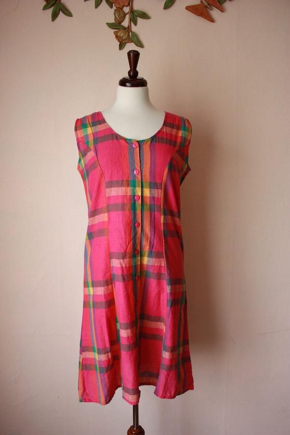 80s 90s Madras Plaid Dress Indian Cotton Shift Siz
