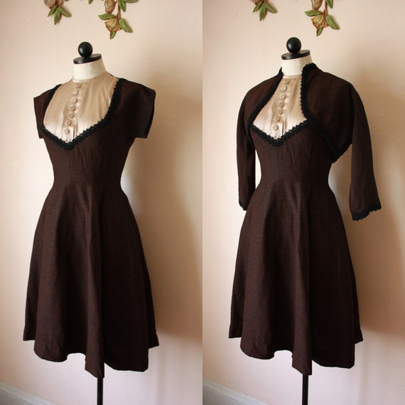 50s Brown and Black Fit and Flare Dress with Boler