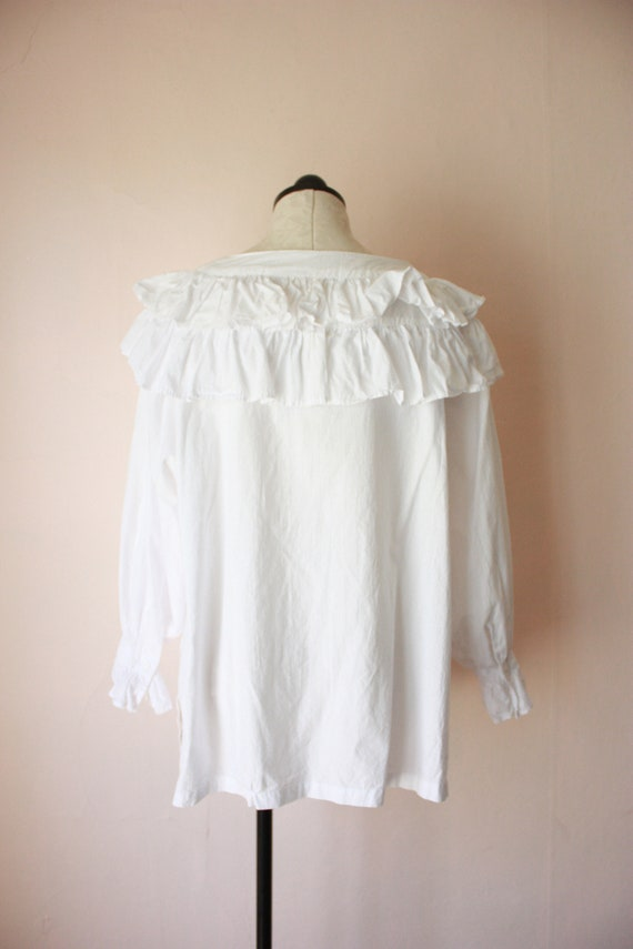 80s Deadstock Michel Ruffled Blouse Victorian Cot… - image 7