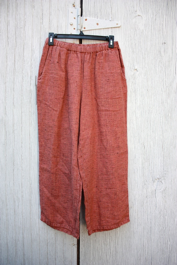 90s Flax Linen Culottes Cropped Pants Pink Size S