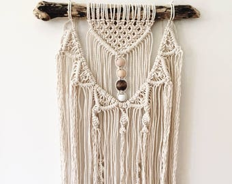 100% Cotton Macrame Wall Hanging Natural BOHO Layered with Beads