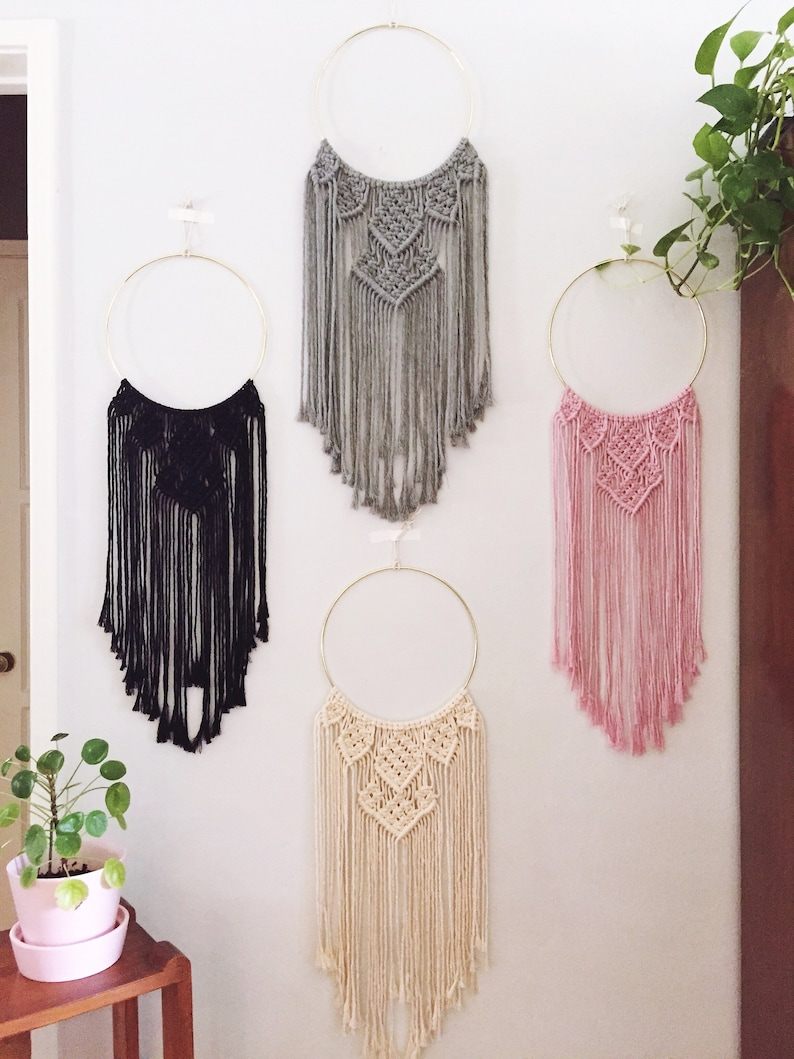 Hoop Macrame Ring Wall Hanging Cotton Boho Dorm Nursery Decor Etsy