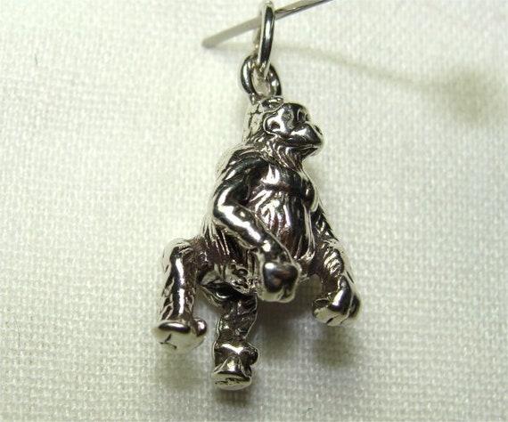 Gorilla Charm Sterling Silver for Bracelet Jungle Animal Zoo Ape Monkey