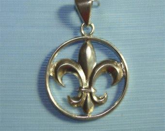 Fleur de Lis PENDANT Necklace French Symbol Louisiana Saints in STERLING Silver
