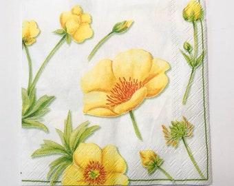 Buttercup Decoupage Paper Napkins Yellow Flower Napkins For Decoupage /& Garden Journaling