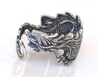 Game of Thrones - DRAGON RING - Antique Silver - Sea Dragon - Wraps Around Your Finger - Neo Victorian - By GlazedBlackCherry