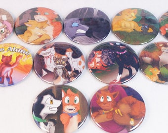 Warriors Cats Set of 11 - 2.25 in Pin Back Buttons