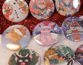 Set of ALL 9 Christmas 2.25 in Pin Buttons