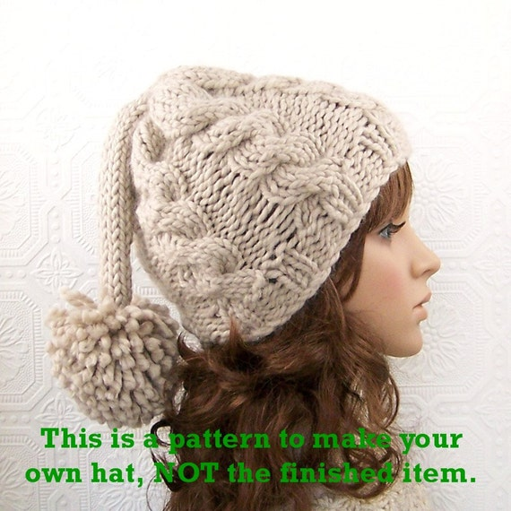 Instant Download Knitting Pattern Adult Hat Beanie Knit Etsy