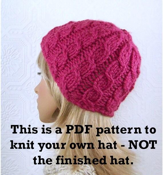 Instant download knitting hat pattern - Simple Cable Beanie pattern - pdf  pattern - DIY winter hat pattern by Sandy Coastal Designs 87e7e84cd2f