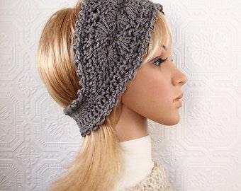 Crochet headband, boho head wrap, ear warmer - medium gray - teen's, women's winter accessories - Sandy Coastal Designs - ready to ship