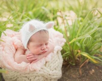 Angora Kitten Bonnet (Newborn-24 mo sizes)