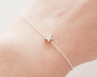 Silver Star Bracelet, Tiny Star Bracelet, Dainty Bracelet, Delicate Bracelet, Simple Dainty Everyday Jewelry, Birthday Gift, Gift For Her