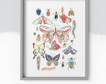 Butterfly's and bug pattern illustration, art print from a painting by Kate Cooke