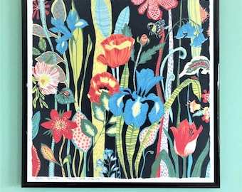 Floral and insect illustration, art print by Kate Cooke