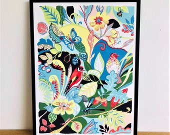 Birds and dragonfly illustration, a print by Kate Cooke