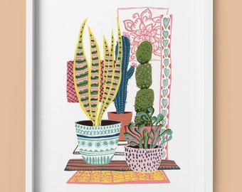 House plant and cactus illustration, art print from an original painting in gouache by Kate Cooke