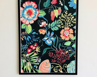 Liberty floral illustration, art print, by Kate Cooke, featured in The Liberty book 2019