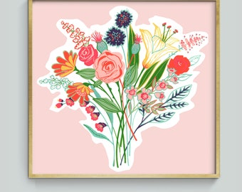 Hand painted floral bouquet illustration, art print om pink